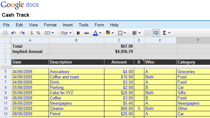 Cash Tracking Spreadsheet
